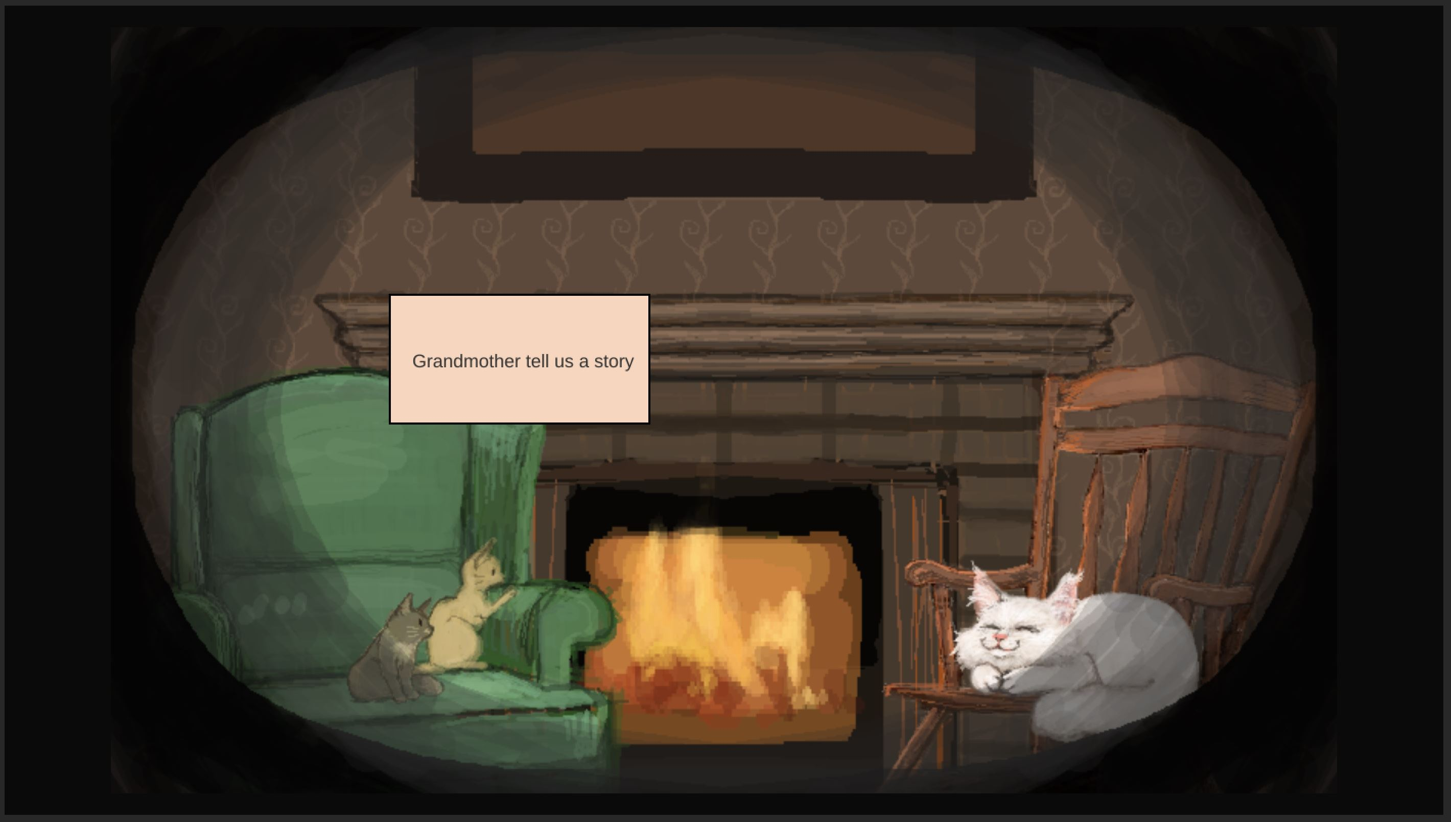 Cats sitting around the fireplace. Little cat wants to hear a story from Grandma cat.
